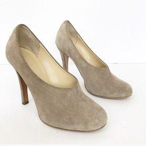 CHLOE Nude Suede Leather Round Toe Heels